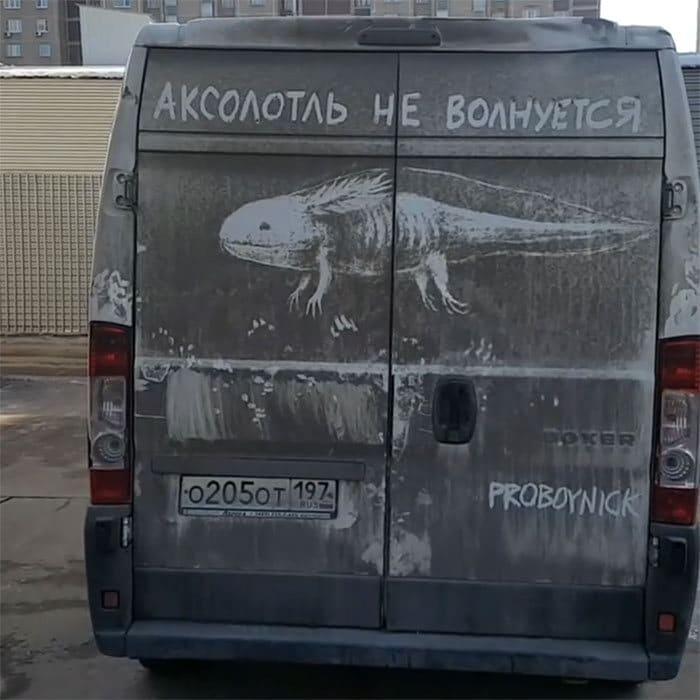 Donos de caminhões sujos encontram desenhos incríveis em seus veículos deixados por este artista 35
