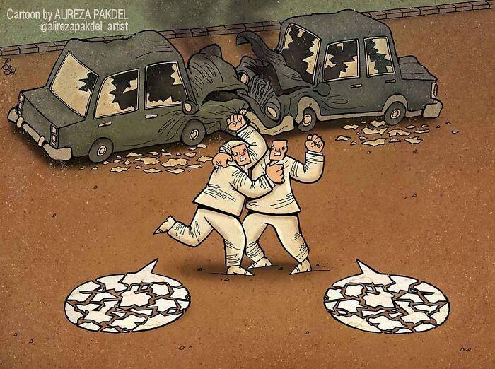 60 Ilustrações digitais que expõem as falhas da sociedade atual por Alireza Pakdel 20