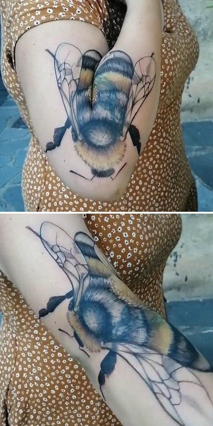 38 tatuagens impressionantes de movimento que se transformam quando as pessoas dobram seus corpos 3