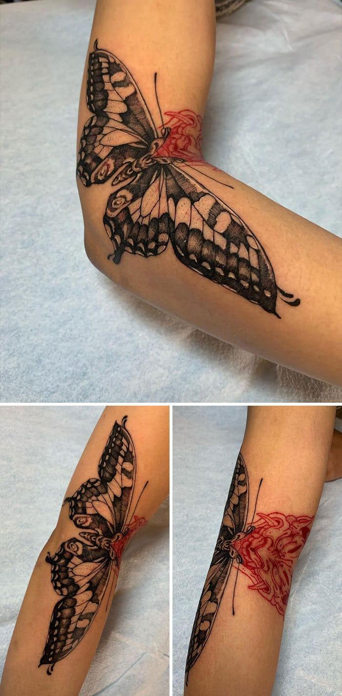 38 tatuagens impressionantes de movimento que se transformam quando as pessoas dobram seus corpos 32