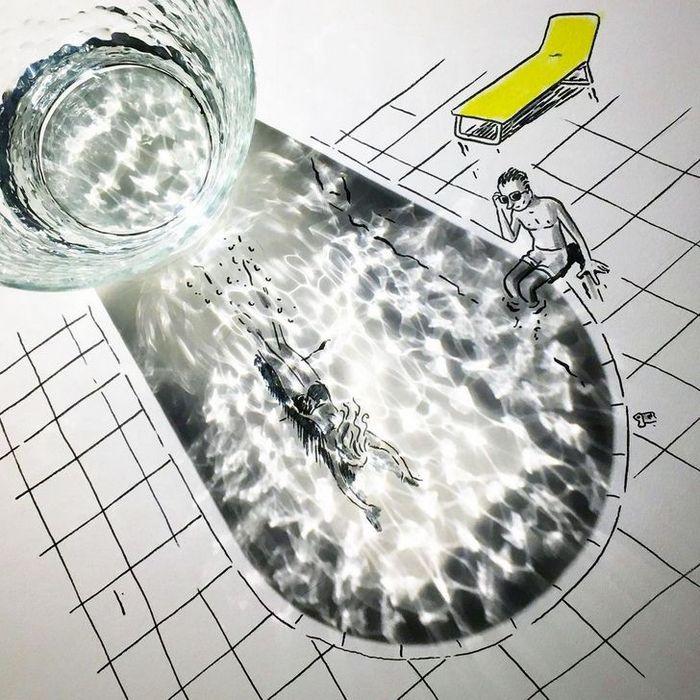 Um artista belga usa sombras para dar vida a objetos 9