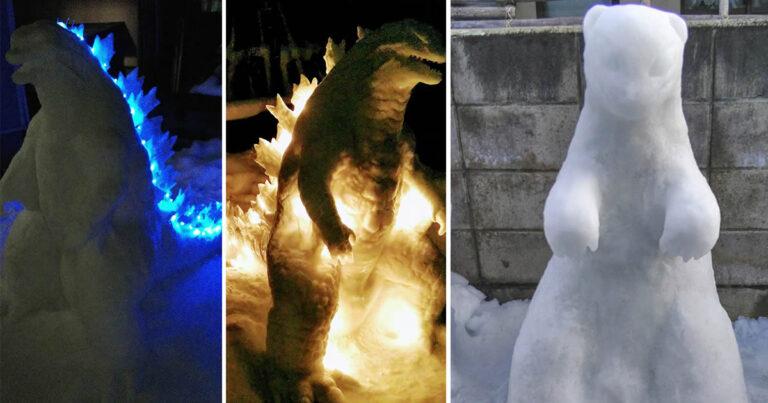 Usuário do Twitter cria esculturas de neve fascinantes e aqui estão 30 das mais legais 1
