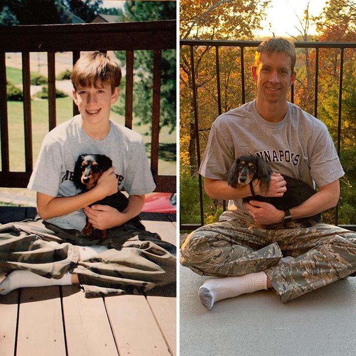 40 adoráveis cães antes e depois de crescer 18