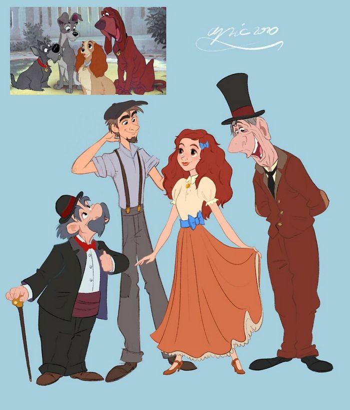 Artista recria personagens da Disney como se fossem humanos e os humanos como animais 12