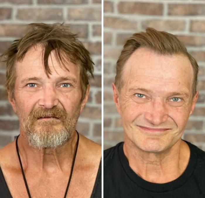 Barbeiro transforma pessoas sem-teto de graça e essas 30 fotos de antes e depois 4