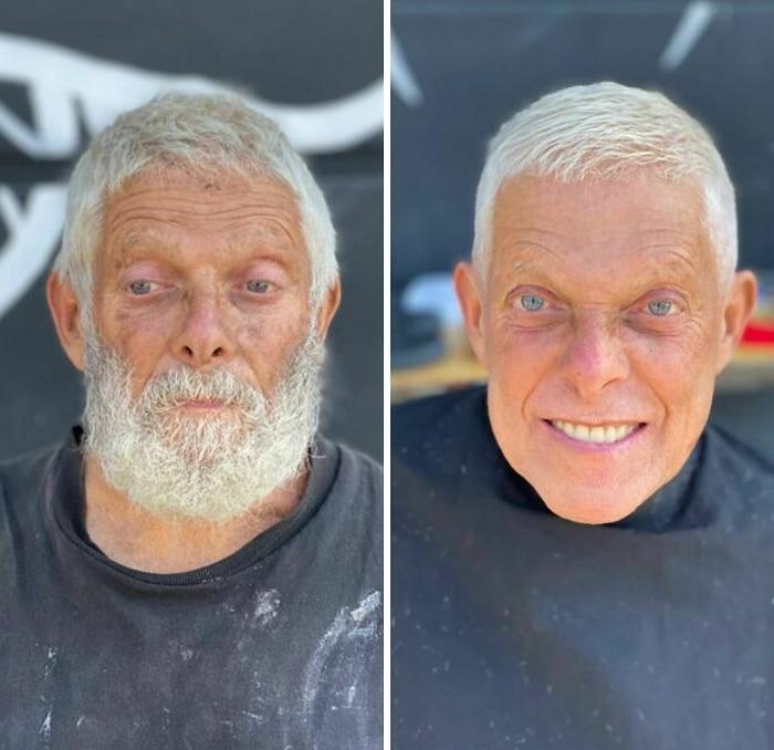 Barbeiro transforma pessoas sem-teto de graça e essas 30 fotos de antes e depois 7