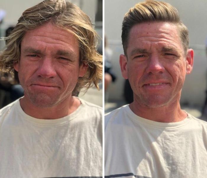 Barbeiro transforma pessoas sem-teto de graça e essas 30 fotos de antes e depois 15