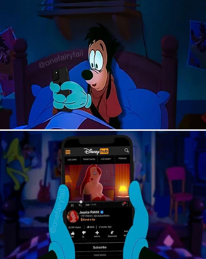 E se os personagens da Disney tivesse celulares e computadores? 3