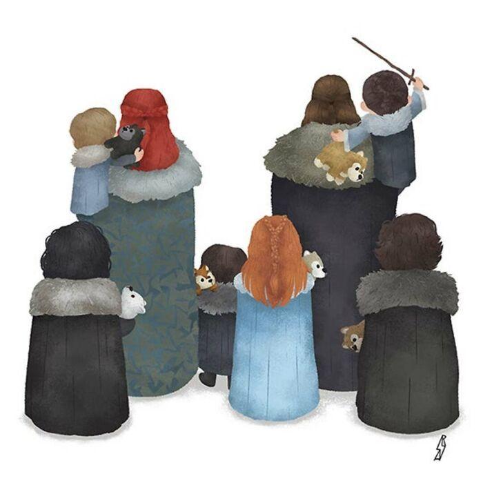 Este ilustrador desenha personagens da cultura pop como famílias 5