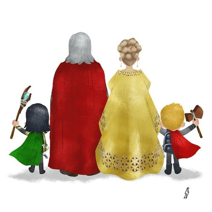 Este ilustrador desenha personagens da cultura pop como famílias 6