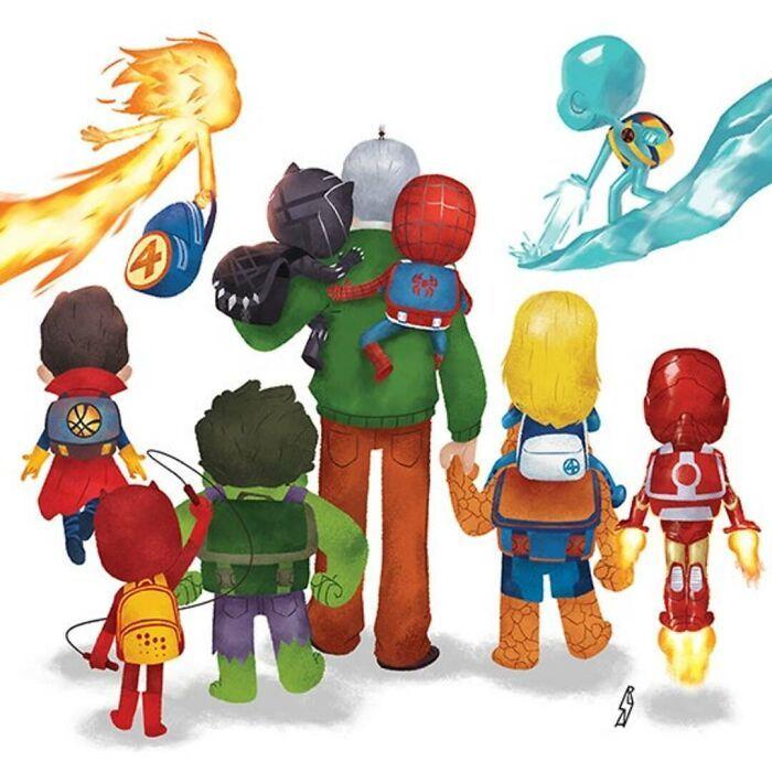 Este ilustrador desenha personagens da cultura pop como famílias 7