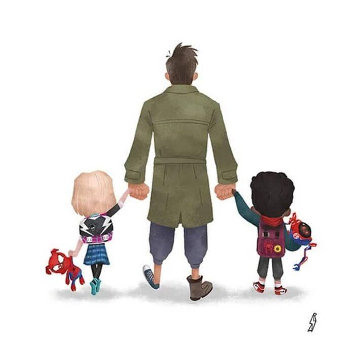 Este ilustrador desenha personagens da cultura pop como famílias 8