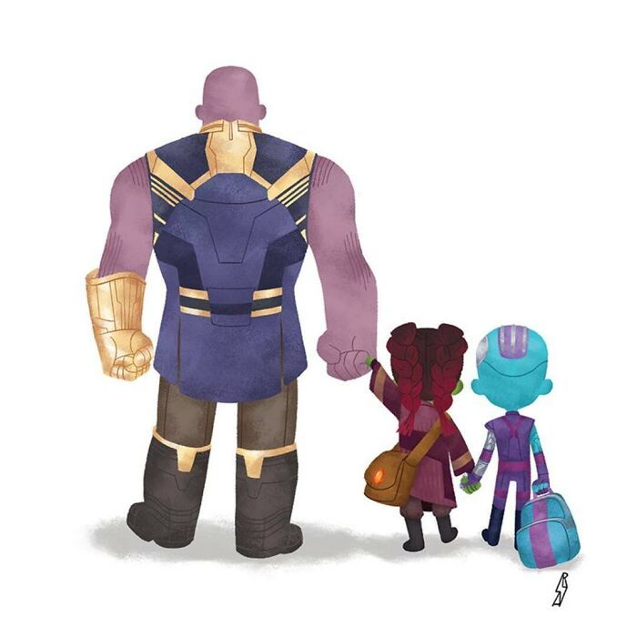 Este ilustrador desenha personagens da cultura pop como famílias 12