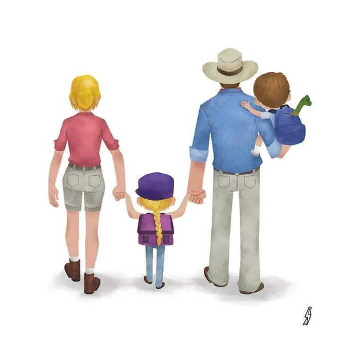 Este ilustrador desenha personagens da cultura pop como famílias 24