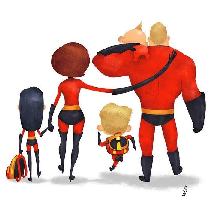Este ilustrador desenha personagens da cultura pop como famílias 25