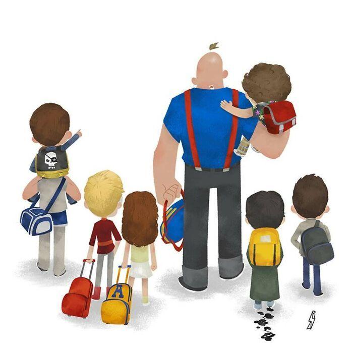 Este ilustrador desenha personagens da cultura pop como famílias 28