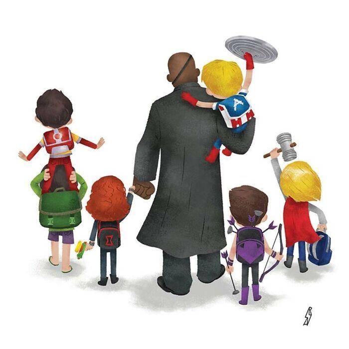 Este ilustrador desenha personagens da cultura pop como famílias 29