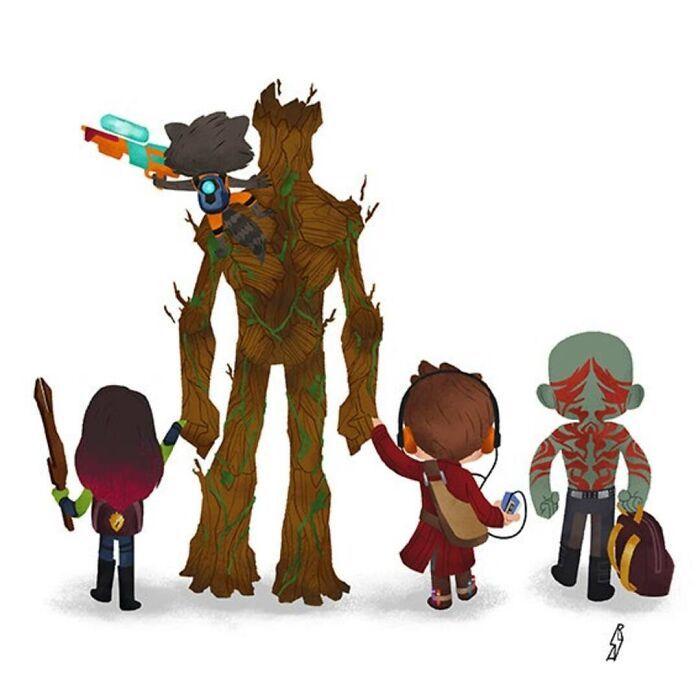 Este ilustrador desenha personagens da cultura pop como famílias 36