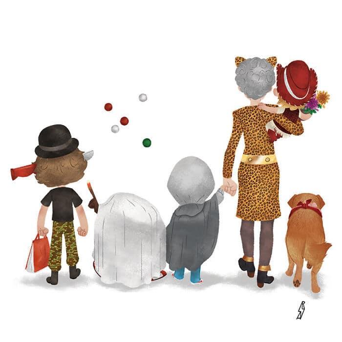 Este ilustrador desenha personagens da cultura pop como famílias 39