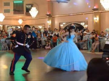 Incrível apresentação de dança pai e filha que impressiona os convidados 1