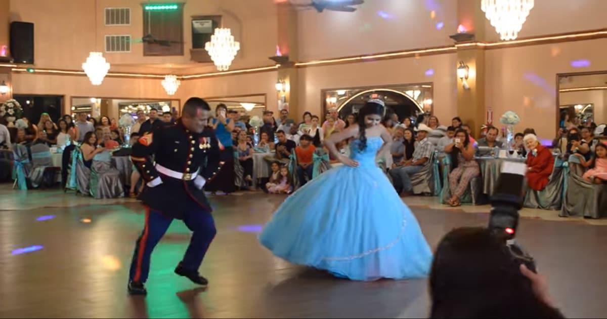 Incrível apresentação de dança pai e filha que impressiona os convidados 26