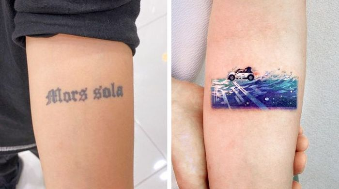 Um artista transforma tatuagens em cenas de outro mundo 24