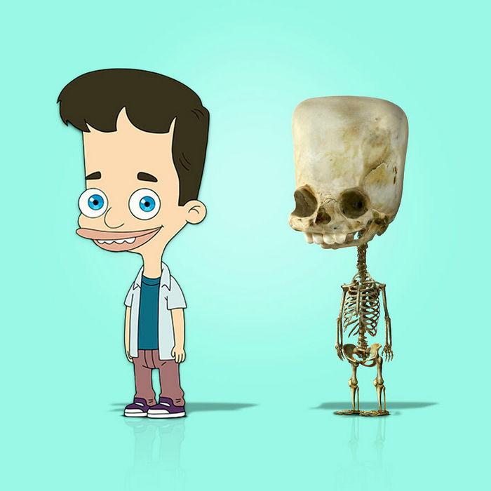 Como seriam os esqueletos de personagens de desenho animados, e isso pode te assustar 13