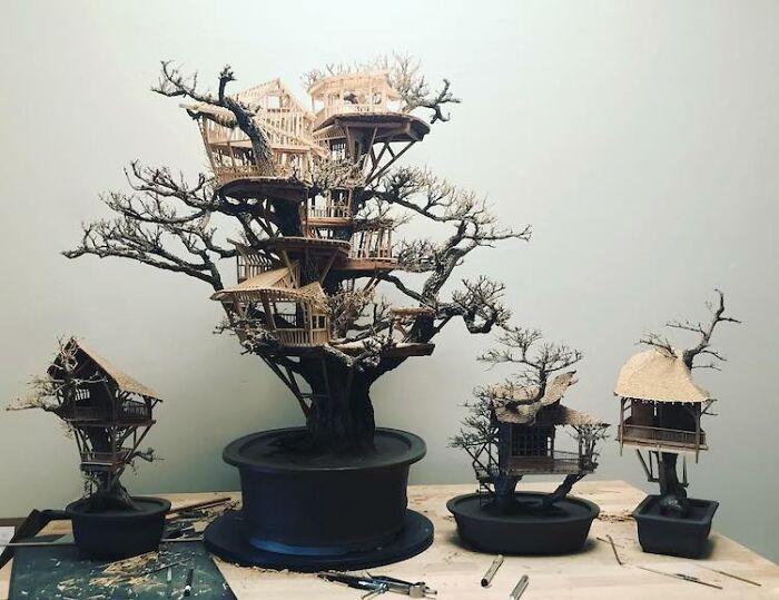 24 fantásticas casas na árvore de bonsai 17