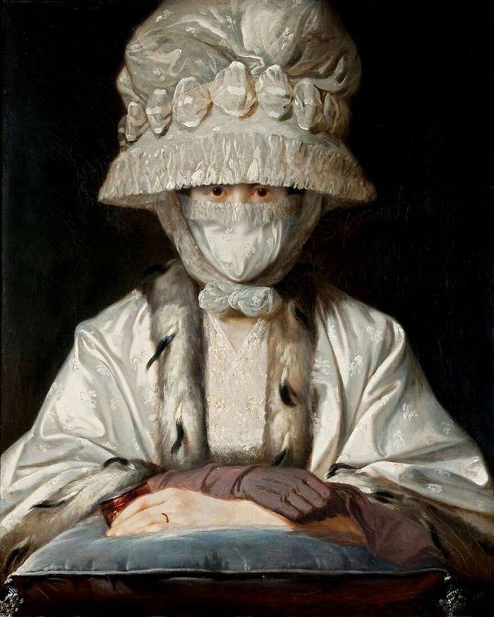 Artista coloca máscaras em pinturas clássicas, e o Instagram está adorando 13