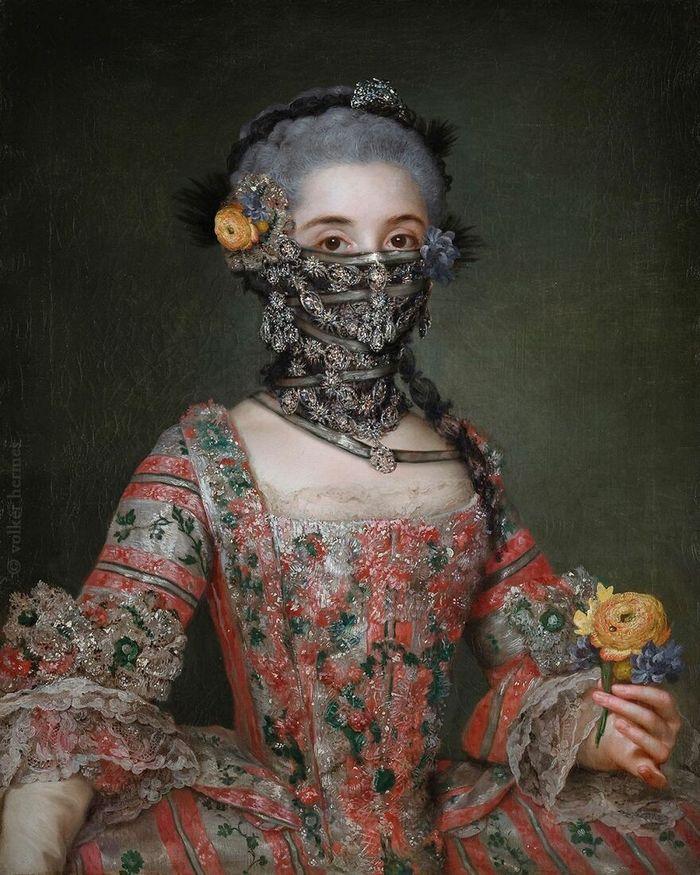 Artista coloca máscaras em pinturas clássicas, e o Instagram está adorando 16