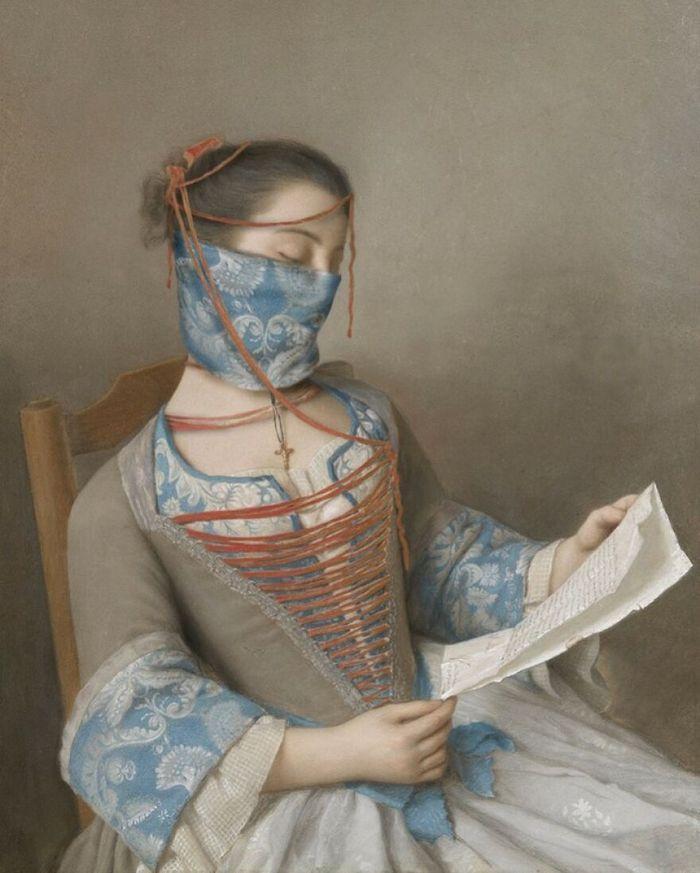 Artista coloca máscaras em pinturas clássicas, e o Instagram está adorando 28