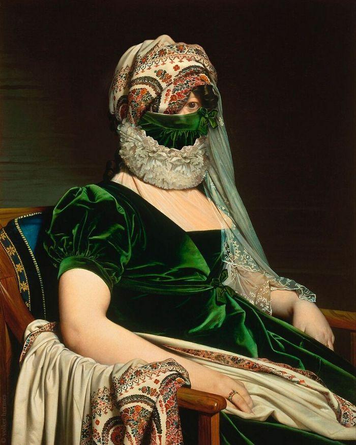 Artista coloca máscaras em pinturas clássicas, e o Instagram está adorando 30