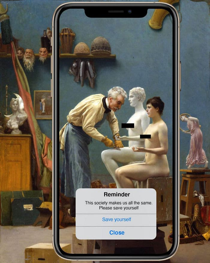 Artista digital reimagina pinturas famosas no contexto atual da tecnologia e mídia social 4