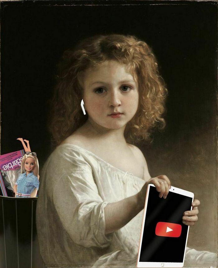 Artista digital reimagina pinturas famosas no contexto atual da tecnologia e mídia social 14