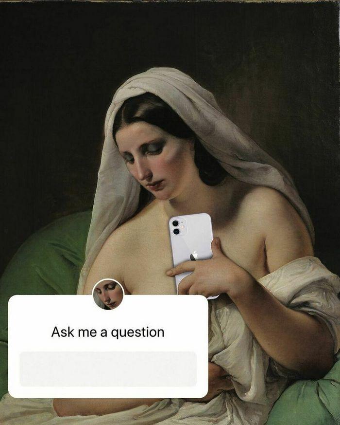 Artista digital reimagina pinturas famosas no contexto atual da tecnologia e mídia social 16