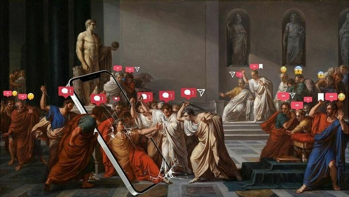 Artista digital reimagina pinturas famosas no contexto atual da tecnologia e mídia social 33