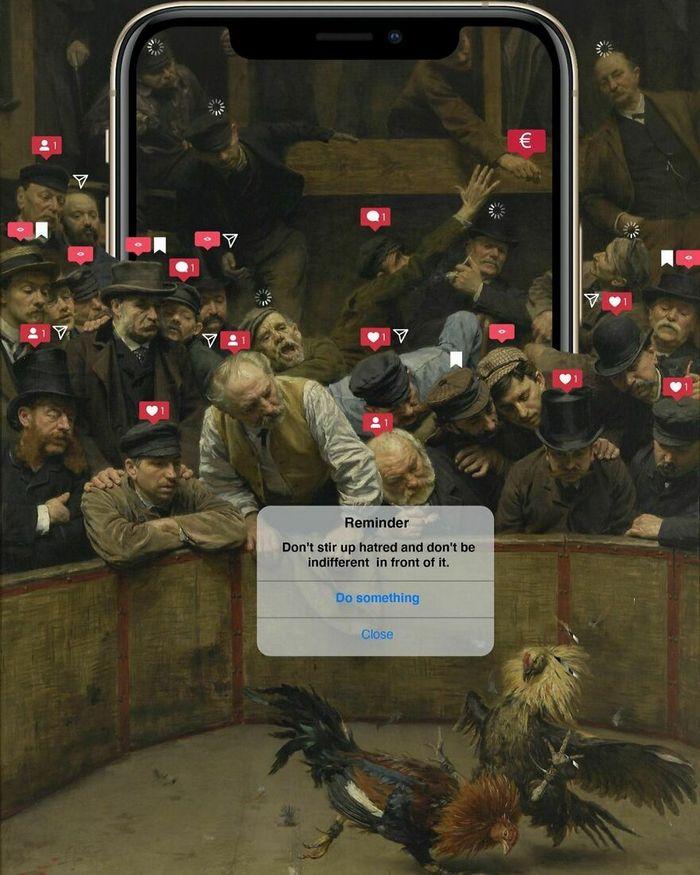 Artista digital reimagina pinturas famosas no contexto atual da tecnologia e mídia social 43