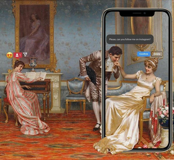 Artista digital reimagina pinturas famosas no contexto atual da tecnologia e mídia social 44