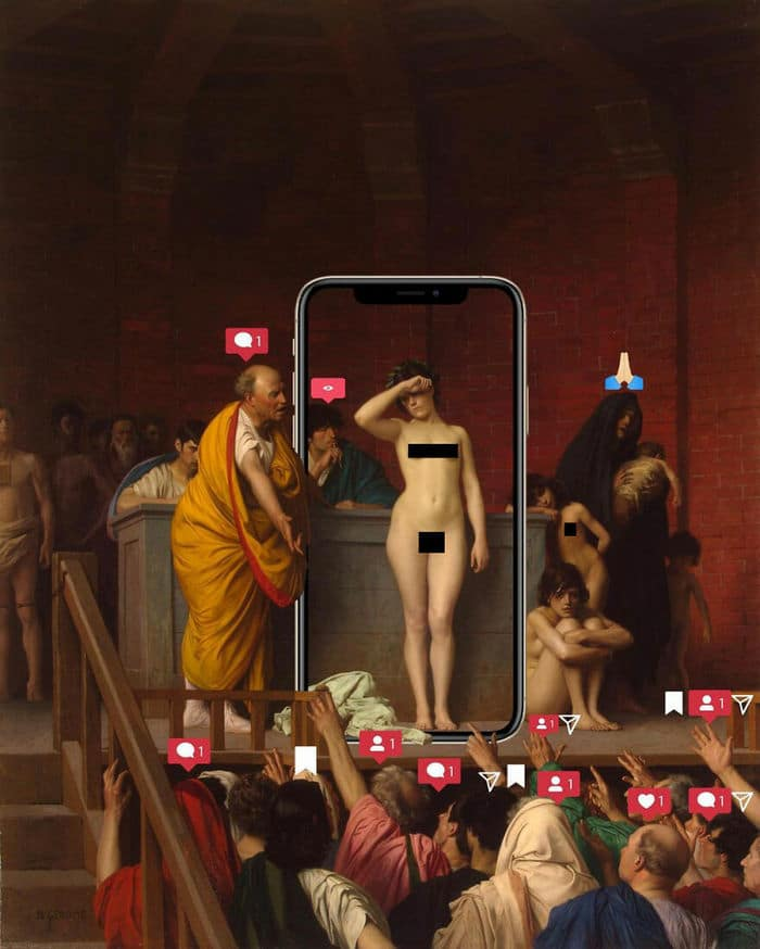 Artista digital reimagina pinturas famosas no contexto atual da tecnologia e mídia social 47