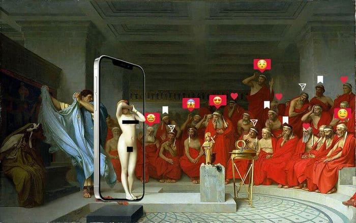 Artista digital reimagina pinturas famosas no contexto atual da tecnologia e mídia social 48