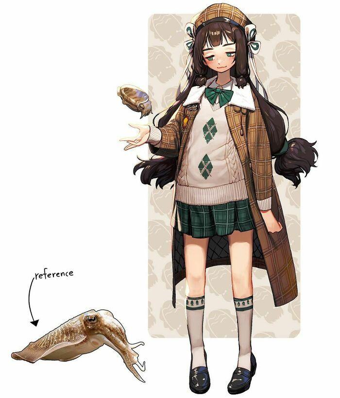 Artista reimagina animais, insetos, objetos do dia a dia e alimentos como personagens de anime 10
