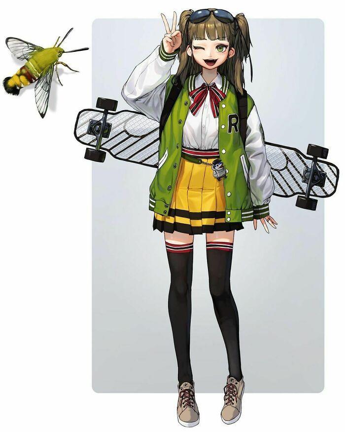 Artista reimagina animais, insetos, objetos do dia a dia e alimentos como personagens de anime 20