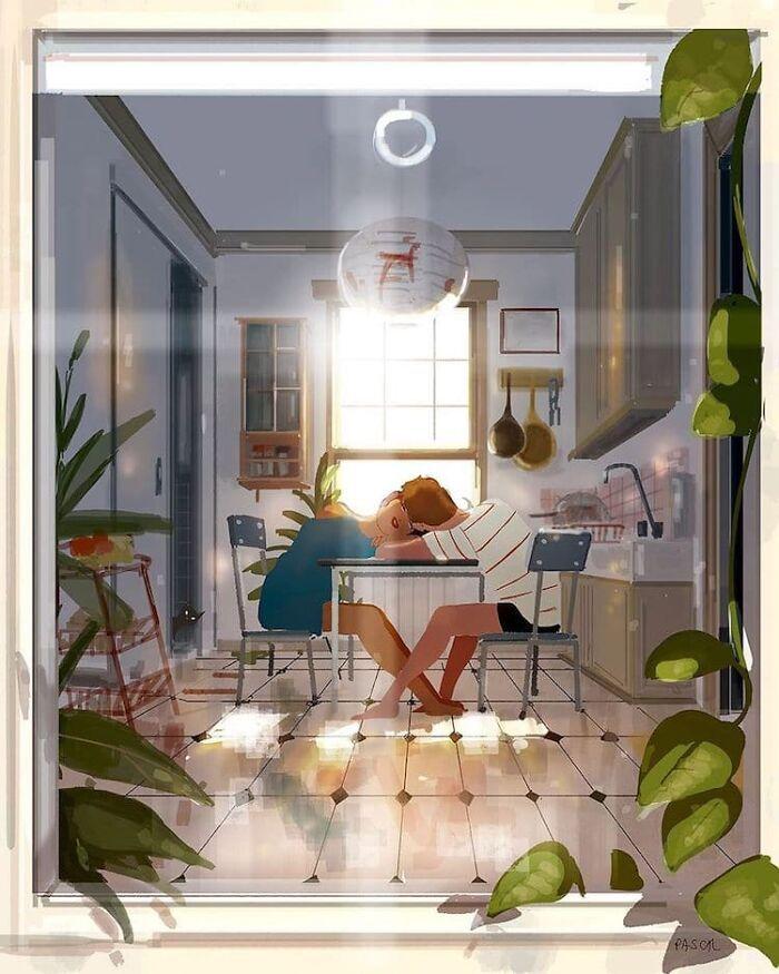 Marido retrata a vida cotidiana com sua esposa e filhos em 54 novas ilustrações comoventes 2