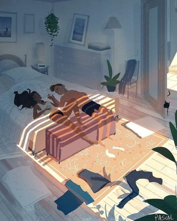 Marido retrata a vida cotidiana com sua esposa e filhos em 54 novas ilustrações comoventes 5