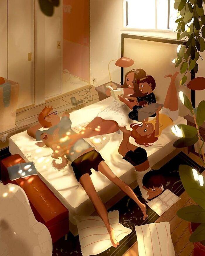 Marido retrata a vida cotidiana com sua esposa e filhos em 54 novas ilustrações comoventes 7