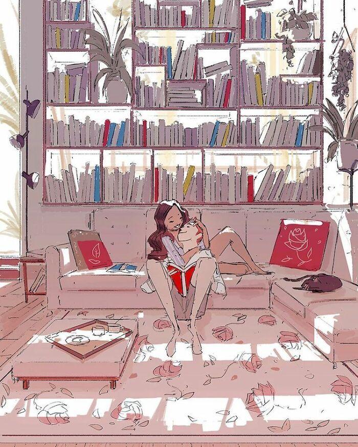 Marido retrata a vida cotidiana com sua esposa e filhos em 54 novas ilustrações comoventes 8