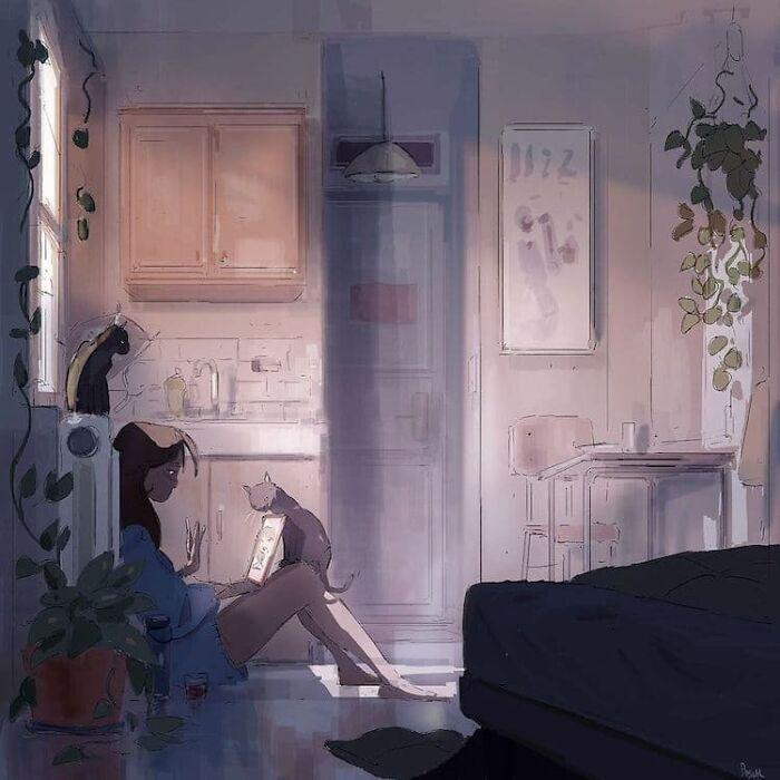 Marido retrata a vida cotidiana com sua esposa e filhos em 54 novas ilustrações comoventes 10