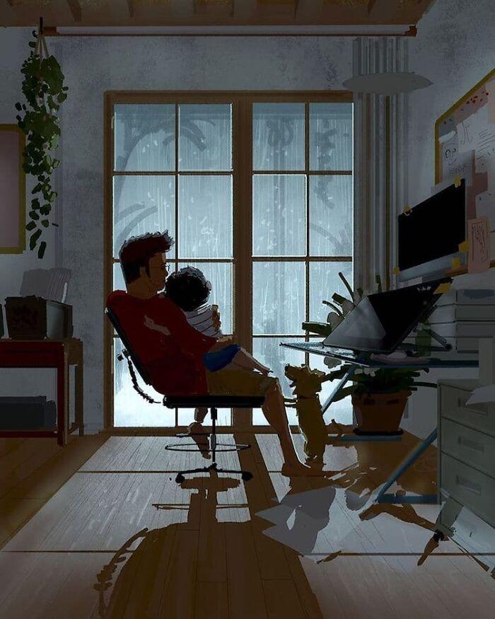 Marido retrata a vida cotidiana com sua esposa e filhos em 54 novas ilustrações comoventes 11