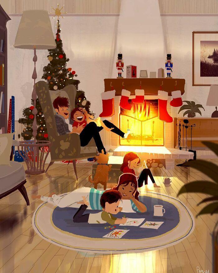 Marido retrata a vida cotidiana com sua esposa e filhos em 54 novas ilustrações comoventes 16