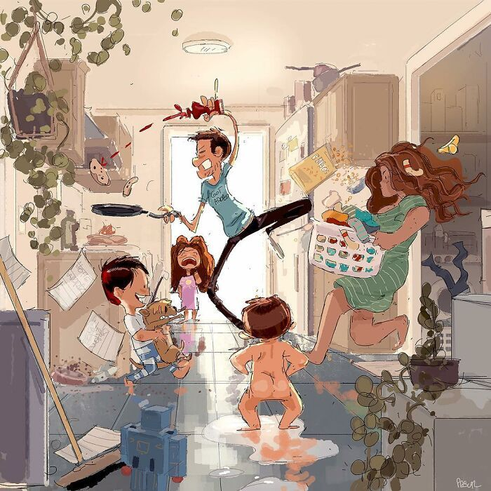Marido retrata a vida cotidiana com sua esposa e filhos em 54 novas ilustrações comoventes 18